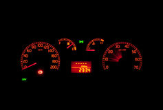 Car speedometer. At night. The car lights are turned on Stock Image