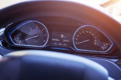 Car speedometer with blue led light. Modern car interior.  Royalty Free Stock Photo