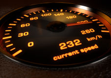 Car speedometer with bright orange illuminated dials inset in da Stock Photography