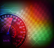 Car speedometer and checkered flag background  Royalty Free Stock Photo