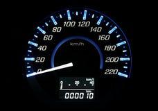 Car speedometer. Close up black car speedometer Royalty Free Stock Images