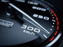 High speed concept. Car speedometer 3d rendering illustration. High speed concept. 300 km/h stock illustration