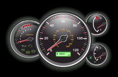 Car speedometer and dashboard. At night. Vector illustration saved as EPS AI8 is now pending inspection Royalty Free Stock Image