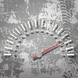 Car speedometer on the dirty surface. Grunge background with old car speedometer on the dirty surface royalty free illustration