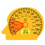 Car speedometer in the human brain. The car speedometer in the human brain Stock Image