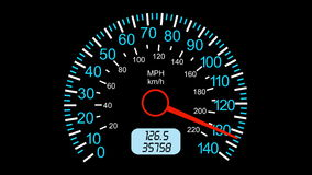 Car speedometer and moving pointer, on a black screen  background. stock footage