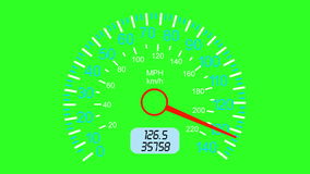 Car speedometer and moving pointer, on a green screen  background. stock footage