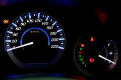 Car speedometer at night Royalty Free Stock Images