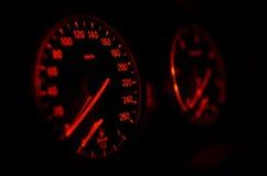 Car speedometer at night Stock Image