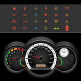 Car speedometer night panel Royalty Free Stock Images