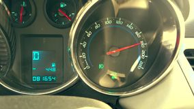 Speedometer of 180 kmh. Car speedometer, speed of 180 kmh stock video footage