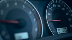 The car speedometer. Speedometer And Tachometer In The Car closeup stock video