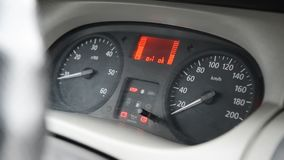 Car speedometer turning on close up. Car speedometer automobile engine motor stock footage