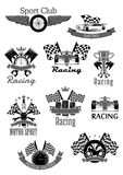 Car or sport motor racing club vector icons set. Car speed racing sport icons. Motor rally sport club symbols set of vector sportscar engine piston, wheel tires Stock Images