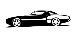 Car sports silhouette. Side view Royalty Free Stock Photos