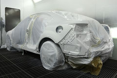 Car in the spray booth Stock Photo