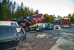 Car stack. Cars stacked up on each other in a car scrapped in Halden Stock Image