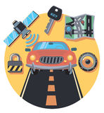 Car and staff circle icon with shadow Stock Photos