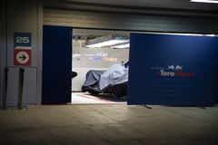 Formula one 2018. Garage team Toro Rosso Red Bull. royalty free stock photography