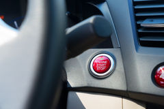 Car start engine button Royalty Free Stock Images