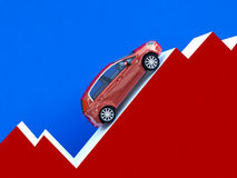 Car stat business. 3d illustration of car over financial stat background Royalty Free Stock Photo