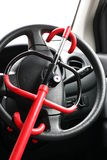 Car Steering Lock. Car lock on the driver steering Royalty Free Stock Photography