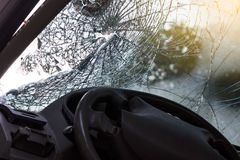In the car, the steering wheel bent from the accident. Royalty Free Stock Image