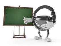 Car steering wheel character with blank blackboard Royalty Free Stock Photo