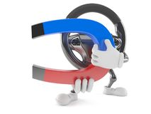 Car steering wheel character holding magnet. Isolated on white background Royalty Free Stock Photography
