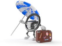 Car steering wheel character with luggage. Isolated on white background Royalty Free Stock Photography