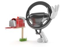 Car steering wheel character with mailbox Stock Images