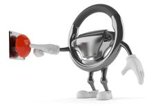Car steering wheel character pushing button. Isolated on white background. 3d illustration Stock Photo