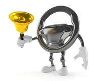 Car steering wheel character ringing a handbell. On white background Stock Photo