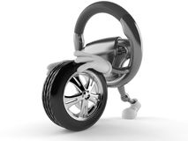 Car steering wheel character rolling spare wheel Royalty Free Stock Photography