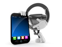 Car steering wheel character with smart phone Royalty Free Stock Images