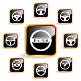 Car steering wheel crystal icon Stock Image