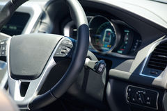 Car steering wheel and dashboard Royalty Free Stock Images