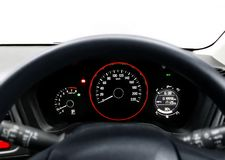 Car steering wheel and dashboard Stock Image