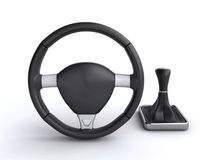 Car steering wheel and gear stick. Leather car steering wheel with gear stick on the white background (3d render&#x29 Royalty Free Stock Image
