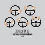 Car Steering Wheel. Hand With Steering Wheel Clean Graphic Symbol Stock Images