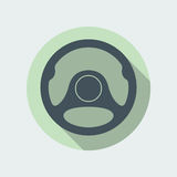 Car Steering Wheel Icon Flat Symbol. Car steering wheel vector icon flat symbol. Automobile steering wheel icon in flat style with long shadow. Auto steering Royalty Free Stock Photos