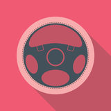 Car Steering Wheel Icon Flat Symbol. Car steering wheel vector icon flat symbol. Automobile steering wheel icon in flat style with long shadow. Auto steering Stock Photography