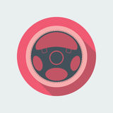 Car Steering Wheel Icon Flat Symbol. Car steering wheel vector icon flat symbol. Automobile steering wheel icon in flat style with long shadow. Auto steering Royalty Free Stock Images
