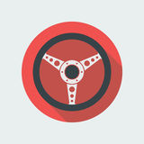 Car Steering Wheel Icon Flat Symbol. Car steering wheel vector icon flat symbol. Automobile steering wheel icon in flat style with long shadow. Auto steering Stock Photo
