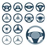 Car Steering Wheel Icons Set. Set of car steering wheel vector icons flat symbols. Automobile steering wheel icons in flat style. Auto steering wheel flat icons Royalty Free Stock Image