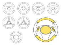 Car Steering Wheel Icons Set. Set of car steering wheel vector icons thin line symbols. Automobile steering wheel icons in outline style. Auto steering wheel Stock Photo