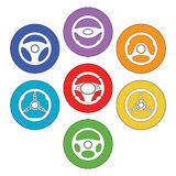 Car Steering Wheel Icons Set. Set of car steering wheel vector icons thin line symbols. Automobile steering wheel icons in outline style. Auto steering wheel Stock Photography