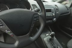Car Dashboard and Steering Wheel. Car steering wheel inside inside a car car interior vehicle automobile Stock Image