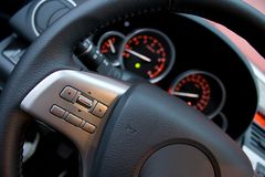 Car steering wheel and instrument panel Stock Photo
