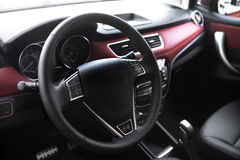 Car steering wheel. The multifunction steering wheel and hands-free sound system in a car royalty free stock photography